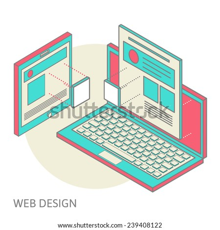 construction and design of sites, the concept of the assembly site or blog, flat isometrics, laptop with image overlay of the site and its assembly process of design of a site or personal page, vector - stock vector