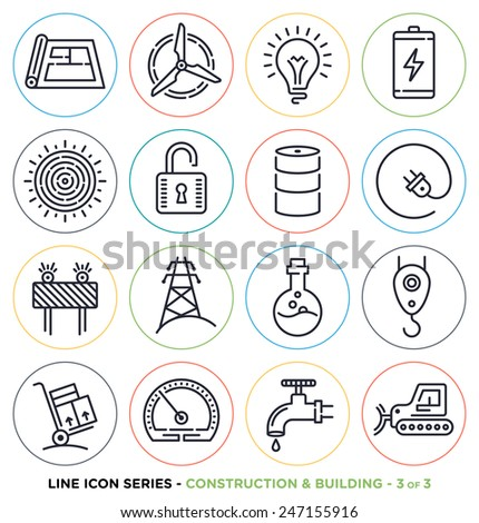 Construction and energy line icons set. Vector collection of construction symbols. - stock vector