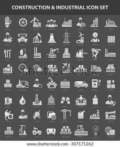 Construction and industry icon set,clean vector - stock vector