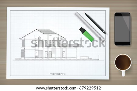 Construction background blueprint paper image house stock vector construction background of blueprint paper with image of house wireframe with stationery set smartphone malvernweather Image collections