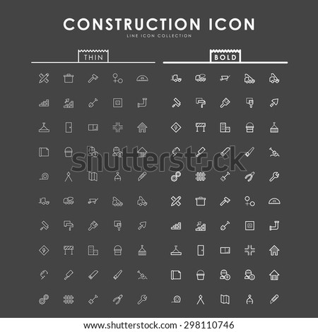 construction-bold-and-thin-outline-icons - stock vector