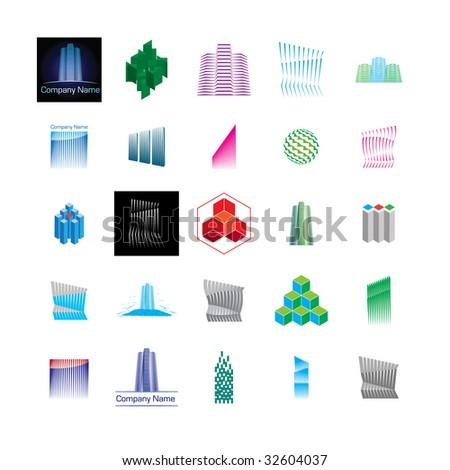 Construction/building symbols, logos, icons. - stock vector