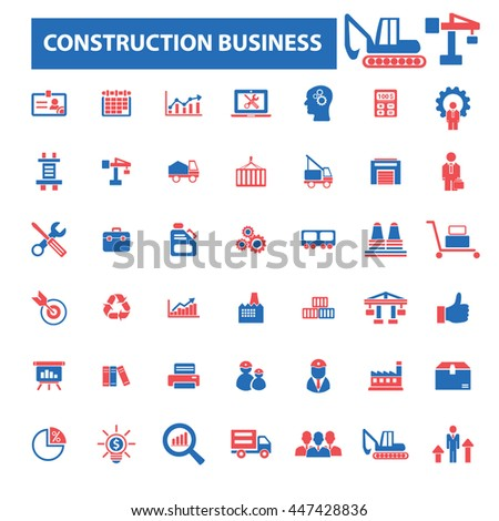 construction business, factory, industry, meeting, logistics, industrial manufacturing, plant, engineering, transportation, warehouse, enterprise, office, management concept  icons, signs vector set - stock vector