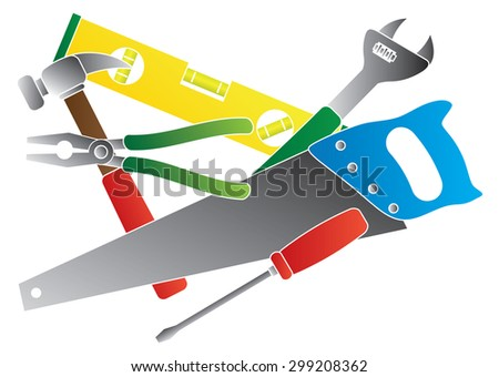 Construction Carpentry Tools Hammer Level Wrench Pliers Wood Saw Screw Driver Collage in Colors Isolated on White Background Vector Illustration - stock vector