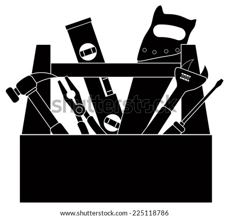 Construction Carpentry Tools Hammer Level Wrench Pliers Wood Saw Screw Driver Toolbox in Black Isolated on White Background Vector Illustration - stock vector