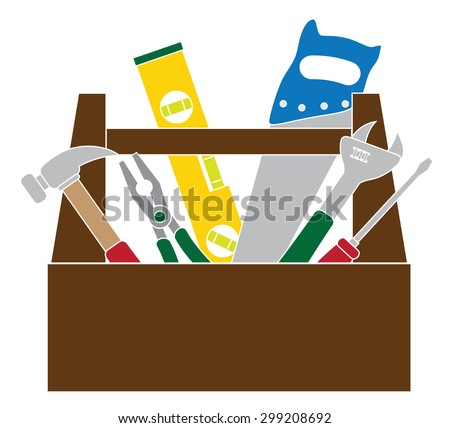 Construction Carpentry Tools Hammer Level Wrench Pliers Wood Saw Screw Driver Toolbox in Color Isolated on White Background Color Vector Illustration - stock vector