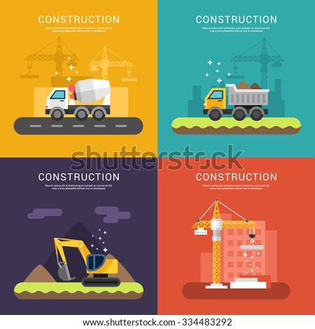 Construction Concept. Crane, Cement Mixers, Dump Truck and Excavator. Set of Vector Illustrations in Flat Design Style for Web Banners or Promotional Materials - stock vector