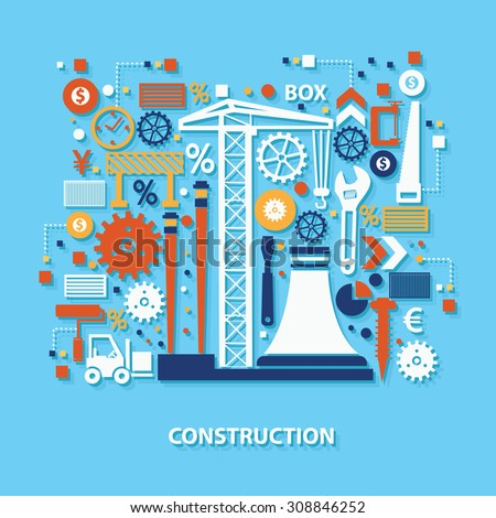 Construction concept design on blue background,clean vector - stock vector