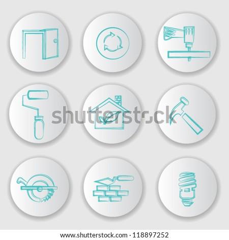 Construction concept,icon set,Vector - stock vector