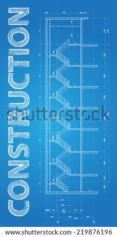 Construction concept, technical blueprint illustration on blue background  - stock vector