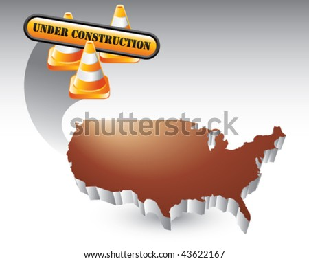construction cones and sign over bronze united states icon - stock vector