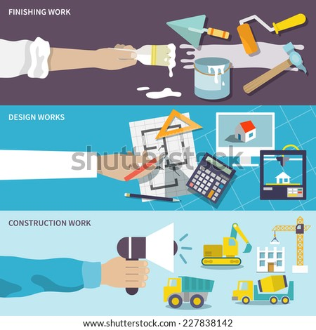 Construction design finishing work flat banner set with human hands isolated vector illustration - stock vector