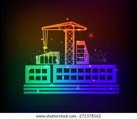 Construction design on rainbow concept background,clean vector - stock vector