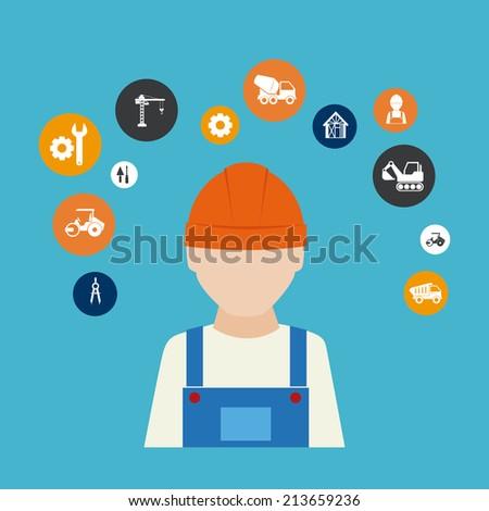 Construction design over blue background, vector illustration - stock vector