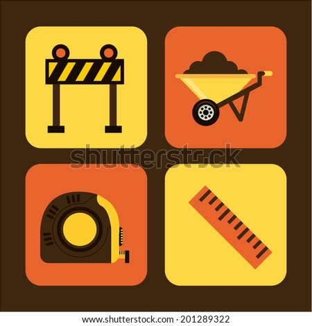 Construction design over brown background, vector illustration - stock vector