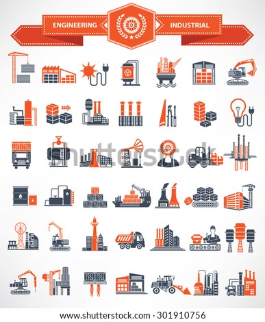 Construction,Engineer and Industry icon set,orange version,clean vector - stock vector