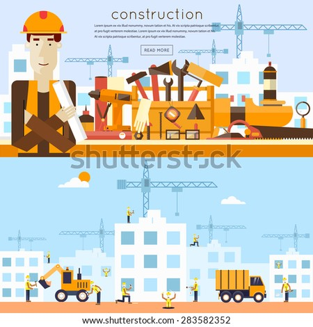 Construction. Engineer, architect, foreman at a construction site. Architect holding a project. Truck and excavator on a construction site. Building a house. Flat icons vector illustration. - stock vector