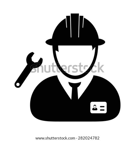 Construction engineer / worker icon - stock vector