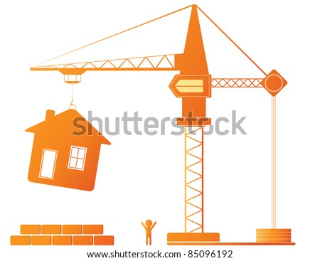 Construction equipment - crane and new house - stock vector