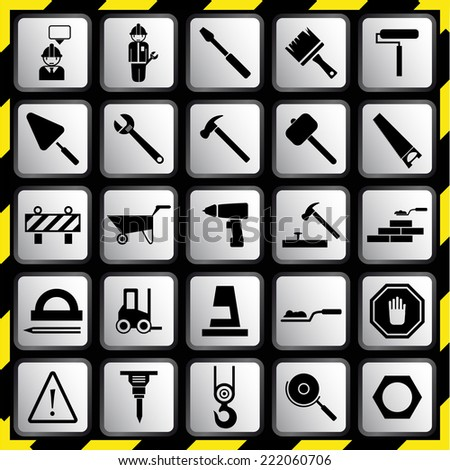 Construction equipment icons set. Icon Tools. - stock vector