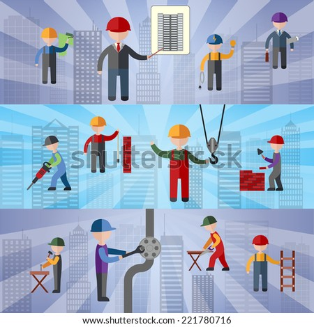 Construction flat horizontal banners set with working people isolated vector illustration - stock vector