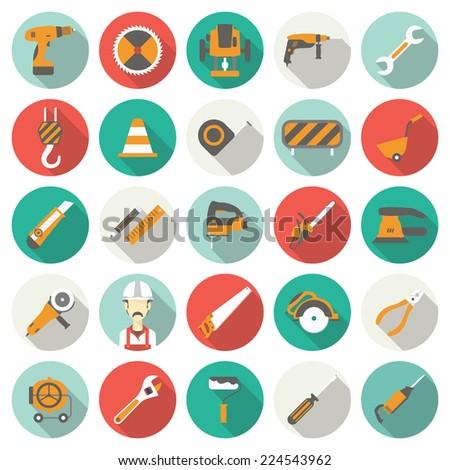 Construction flat icons set. Vector illustration - stock vector