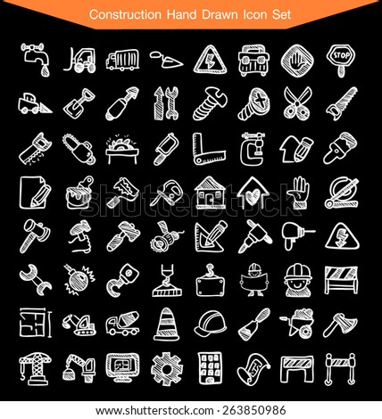 Construction Hand Drawn line Icon Set - stock vector