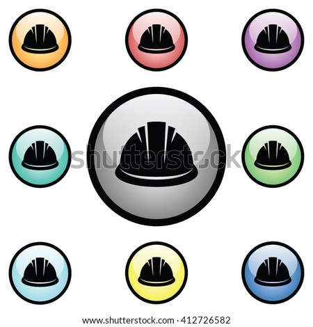 Construction Hard Hat Icon Glass Button Icon Set - stock vector