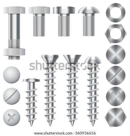 Construction hardware icons. Screws, bolts, nuts and rivets. Equipment stainless, metalli fix gear, vector illustration - stock vector