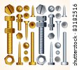 Construction Hardware: Screws, Bolts, Nuts and Rivets, isolated vector elements for your design. - stock photo