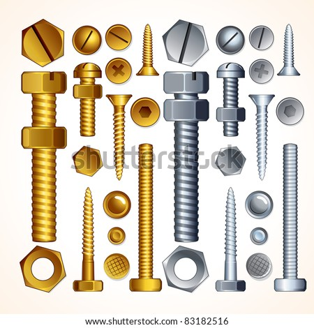 Construction Hardware: Screws, Bolts, Nuts and Rivets, isolated vector elements for your design. - stock vector