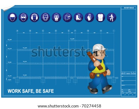 Construction health and Safety against blueprint drawing - stock vector