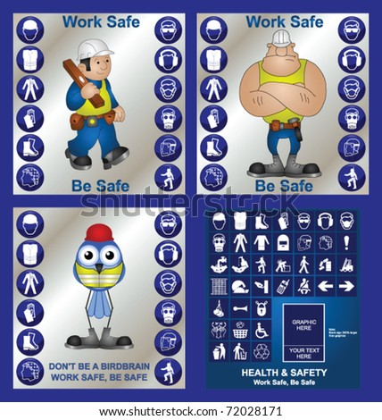 Construction health and safety at work collection including make your own sign - stock vector