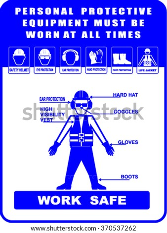 Construction Health and Safety Personal Protection Equipment - stock vector