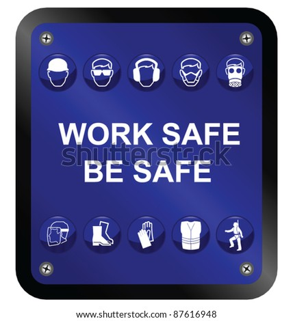 Construction Health and Safety sign isolated on white background - stock vector