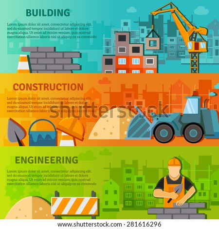 Construction horizontal banner set with building and engineering flat elements isolated vector illustration - stock vector