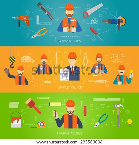 Construction horizontal banner set with flat work tools elements isolated vector illustration - stock vector