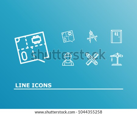 Construction icon set tower crane builder stock vector 1044355258 construction icon set and tower crane with builder toilet and floor plan blueprint related malvernweather Images