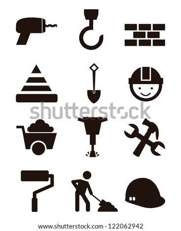 construction icons over white background. vector illustration - stock vector