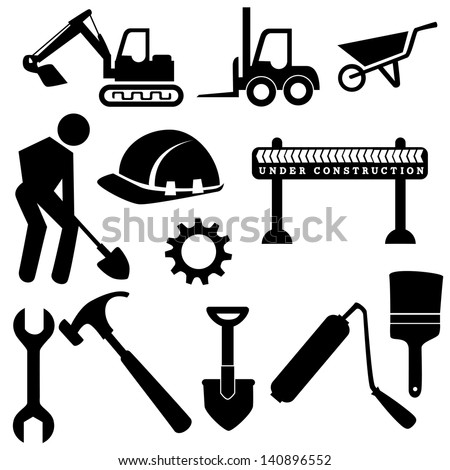 construction icons  over white background vector illustration - stock vector
