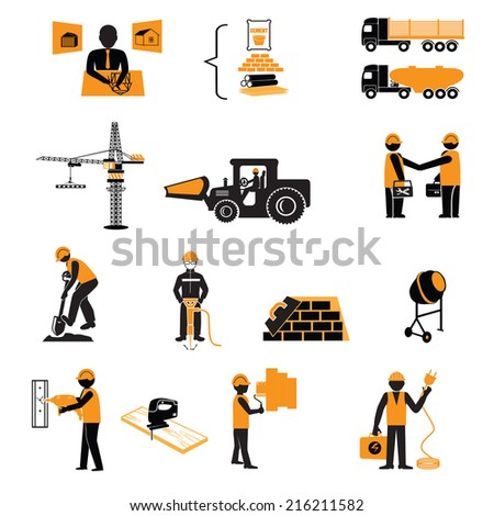 construction icons set.Construction worker production process of design manufacture assembly vector illustration - stock vector
