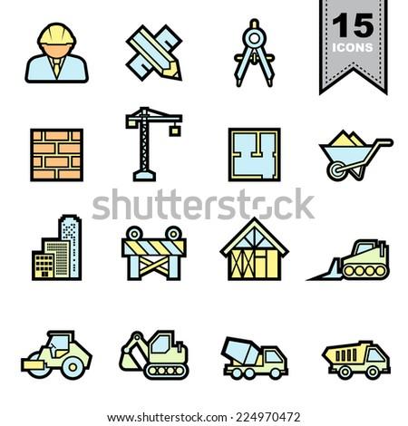 Construction icons set .Illustration eps 10 - stock vector