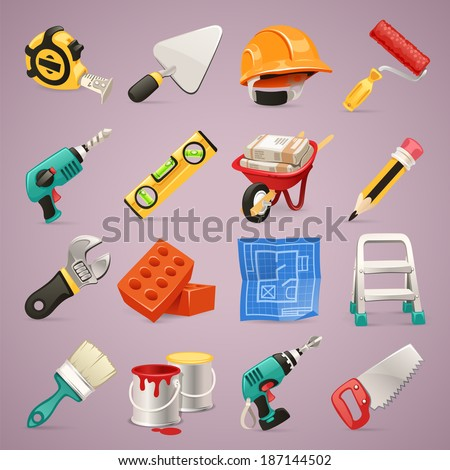 Construction Icons Set1.1 In the EPS file, each element is grouped separately. - stock vector