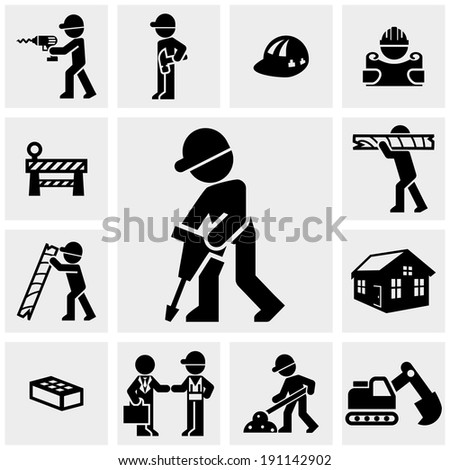 Construction  icons set on gray.  - stock vector