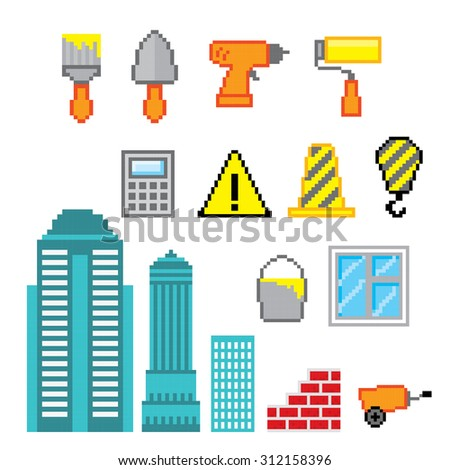 Construction icons set. Pixel art. Old school computer graphic style. - stock vector