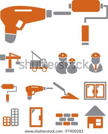 construction icons set, vector - stock vector
