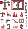 construction icons, signs, vector illustrations - stock vector