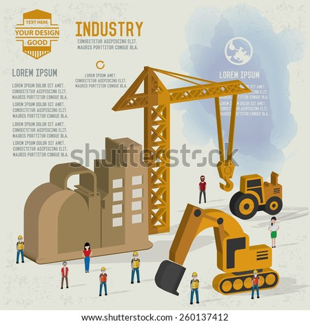Construction,industrial,character design and blank for your text,clean vector - stock vector