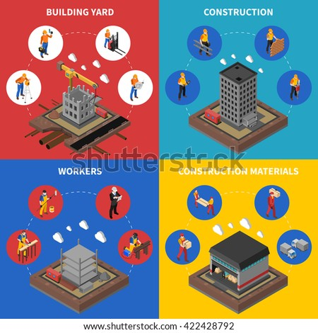 Construction Industry and Building Isometric Concept Set Isolated Vector Illustration - stock vector