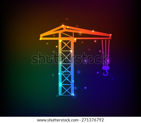 Construction, industry design on rainbow concept background,clean vector - stock vector